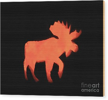 Bull Moose Pumpkin Wood Print