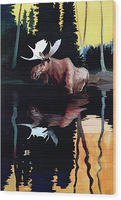 Bull Moose Wood Print by Robert Wesley Amick