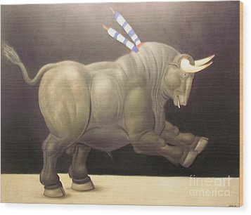 bull painting Botero Wood Print by Ted Pollard