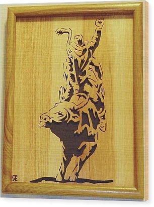 Bull-rider Wood Print by Russell Ellingsworth