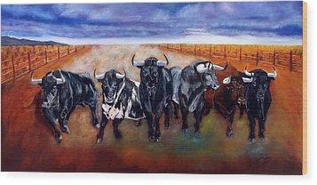 Bull Stampede Wood Print