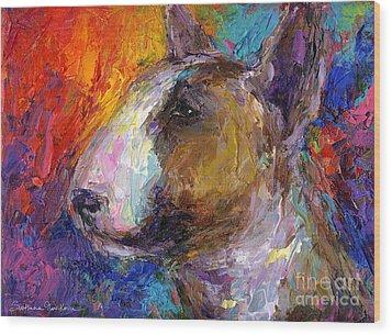 Bull Terrier Dog Painting Wood Print by Svetlana Novikova