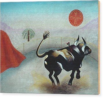 Bull With Sun Wood Print by Sally Appleby