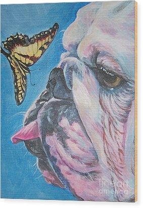 Bulldog And Butterfly Wood Print