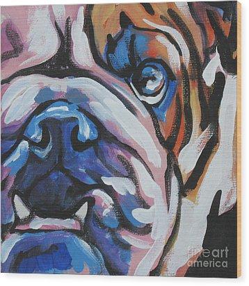 Bulldog Baby Wood Print