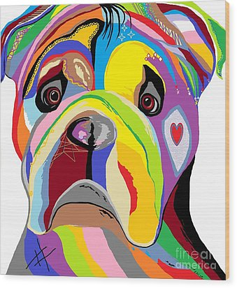 Bulldog Wood Print by Eloise Schneider