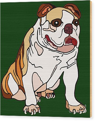 Bulldog Wood Print by Marian Cates