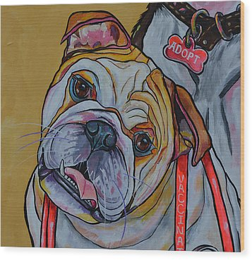 Bulldog Wood Print by Patti Schermerhorn