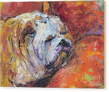 Bulldog Portrait Painting Impasto Wood Print by Svetlana Novikova