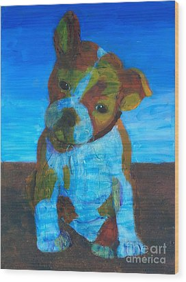Wood Print featuring the painting Bulldog Puppy by Donald J Ryker III