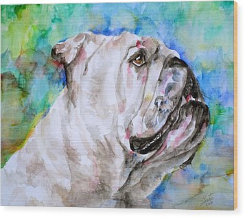Wood Print featuring the painting Bulldog - Watercolor Portrait.4 by Fabrizio Cassetta
