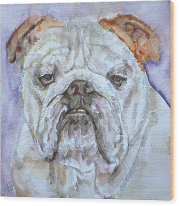 Wood Print featuring the painting Bulldog - Watercolor Portrait.5 by Fabrizio Cassetta