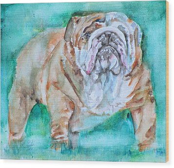 Wood Print featuring the painting Bulldog - Watercolor Portrait.6 by Fabrizio Cassetta