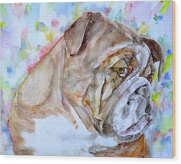 Wood Print featuring the painting Bulldog - Watercolor Portrait.7 by Fabrizio Cassetta