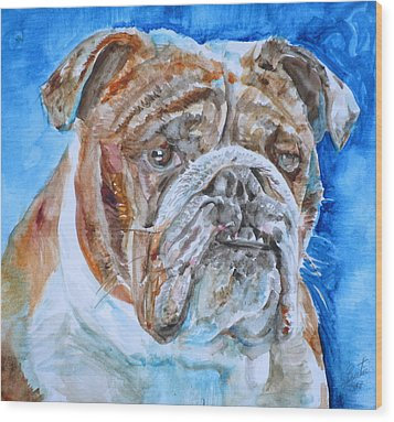 Wood Print featuring the painting Bulldog - Watercolor Portrait.8 by Fabrizio Cassetta