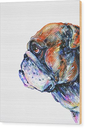 Bulldog Wood Print by Zaira Dzhaubaeva