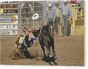 Bulldogging At The Rodeo Wood Print by Christine Till