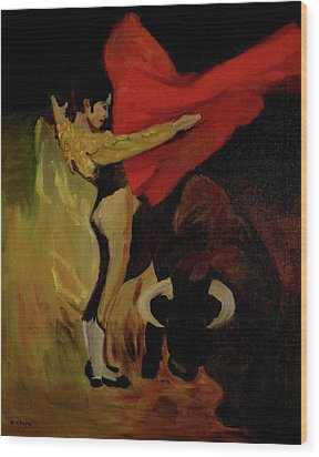 Bullfighter By Mary Krupa Wood Print by Bernadette Krupa