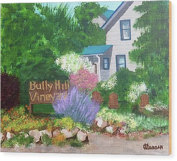 Wood Print featuring the painting Bully Hill Vineyard by Cynthia Morgan
