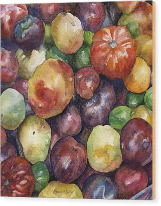 Wood Print featuring the painting Bumper Crop Of Heirlooms by Anne Gifford