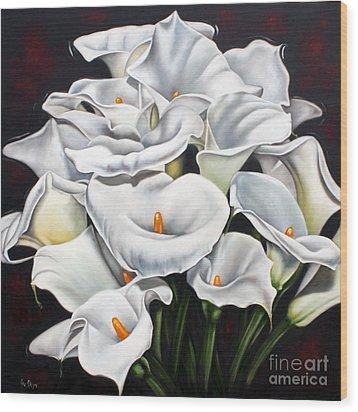 Bunch Of Lilies Wood Print by Ilse Kleyn