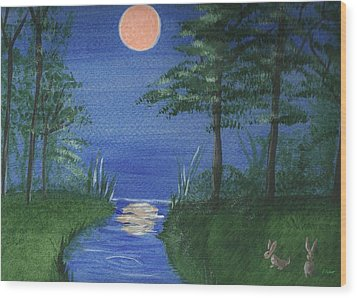 Bunnies In The Garden At Midnight Wood Print