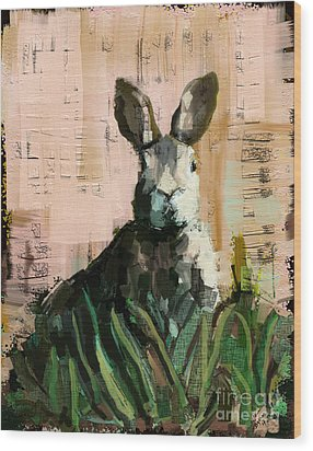 Wood Print featuring the mixed media Bunny by Carrie Joy Byrnes