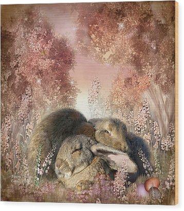 Bunny Dreams Wood Print by Carol Cavalaris