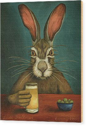 Bunny Hops Wood Print by Leah Saulnier The Painting Maniac