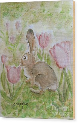 Bunny In The Tulips Wood Print by Laurie Morgan