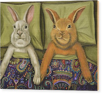 Bunny Love Wood Print by Leah Saulnier The Painting Maniac