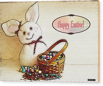 Bunny N Eggs Card Wood Print