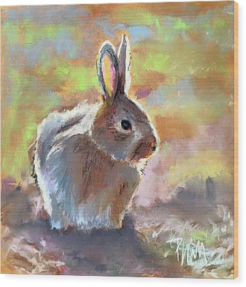 Wood Print featuring the pastel Bunny by Pattie Wall