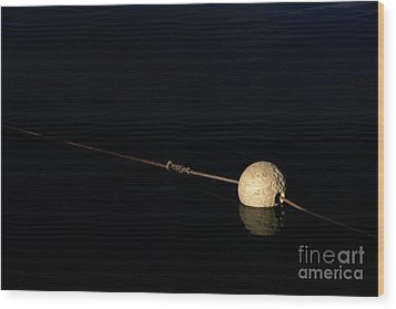 Wood Print featuring the photograph Buoy At Night by Stephen Mitchell