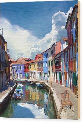 Burano Canal Wood Print