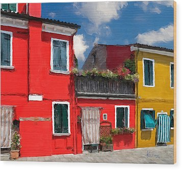 Wood Print featuring the photograph Burano Color Houses. by Juan Carlos Ferro Duque