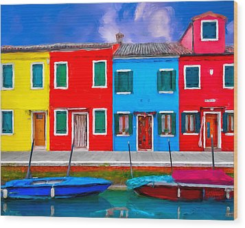 Wood Print featuring the photograph Burano Colorful Houses by Juan Carlos Ferro Duque