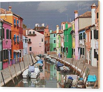 Burano Colours Wood Print