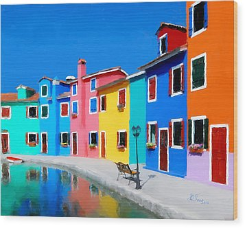 Wood Print featuring the photograph Burano Houses.  by Juan Carlos Ferro Duque
