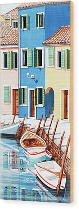 Burano, Italy, Prints From Original Oil Painting Wood Print