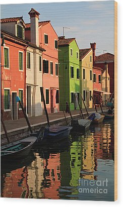 Wood Print featuring the photograph Burano Reflections by Dennis Hedberg