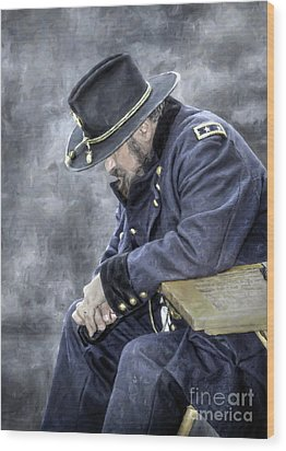 Burden Of War Civil War Union General Wood Print by Randy Steele