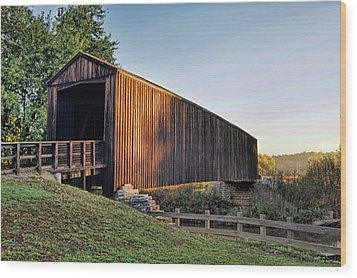 Wood Print featuring the photograph Burfordville Covered Bridge by Cricket Hackmann