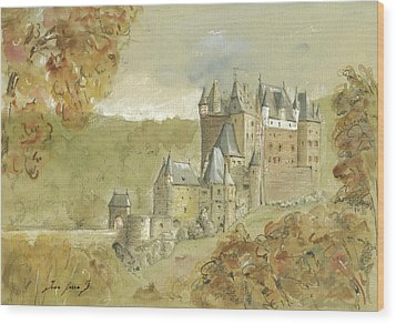 Burg Eltz Castle Wood Print by Juan Bosco