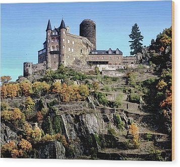 Wood Print featuring the photograph Burg Katz - Rhine Gorge by Jim Hill