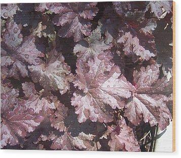 Burgandy Leaves After The Rain Wood Print by Anna Villarreal Garbis