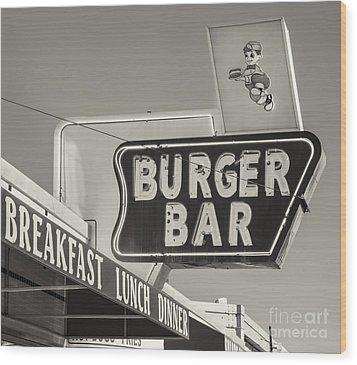 Burger Bar Bw Wood Print by Jerry Fornarotto