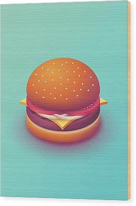 Burger Isometric - Plain Mint Wood Print by Ivan Krpan