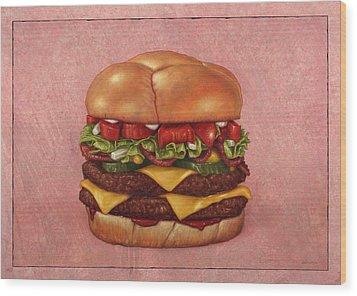 Burger Wood Print