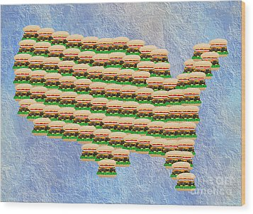 Burger Town Usa Map Wood Print by Andee Design